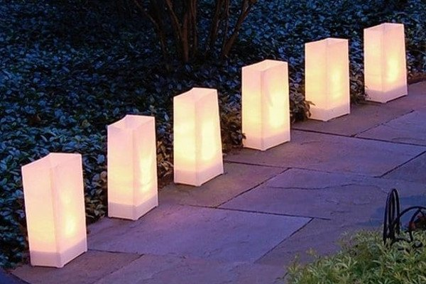 Discovery Gardens decorated with luminarias